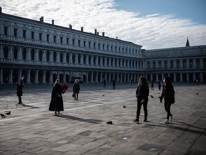 The famous St. Mark's Square is quiet on December 18, 2020 in Venice, Italy.