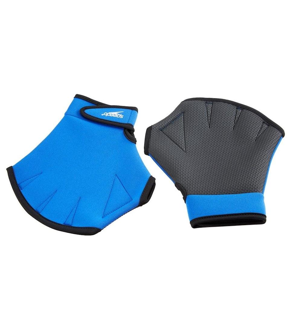 <p>Pull more water during your water aerobics workout with a pair of <span>Speedo Aquatic Fitness Gloves</span> ($25). Available in four different sizes, the gloves are made with a rubber palm for proper grip while you're in the pool.</p>