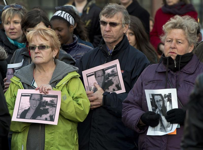 Several hundred people attend a community vigil to remember Rehtaeh Parsons at Victoria Park in Halifax, Nova Scotia on Thursday, April 11, 2013. The girl's family says she ended her own life last week following months of bullying after she was allegedly sexually assaulted by four boys and a photo of the incident was distributed. (AP Photo/The Canadian Press, Andrew Vaughan)