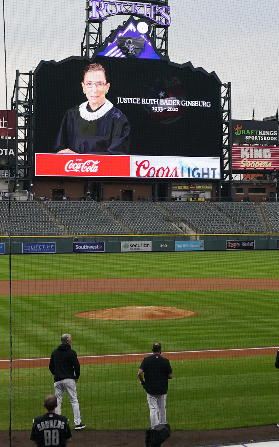 A tribute to the late Supreme Court Justice Ruth Bader Ginsburg is displayed on the scoreboard before a baseball game between the Los Angeles Dodgers and the Colorado Rockies on Saturday, Sept. 19, 2020, in Denver. (AP Photo/David Zalubowski)