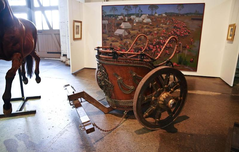 A replica Roman chariot from the actor's film Gladiator was sold for $65,000. Source: AAP