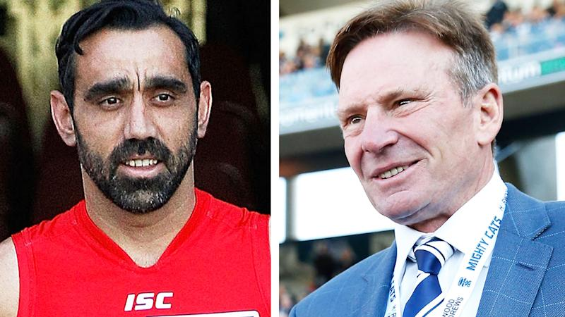 A 50-50 split image shows Adam Goodes on the left and Sam Newman on the right.