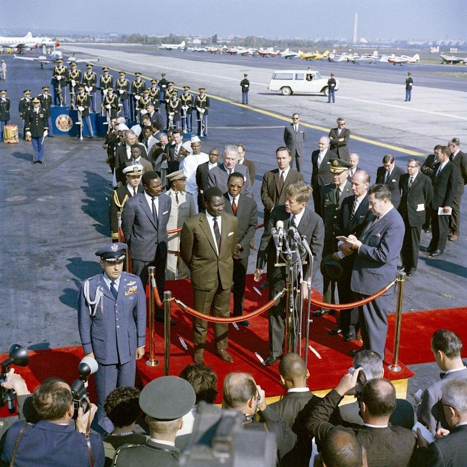 President John F. Kennedy delivers remarks at arrival ceremonies in honour of President of Guinea, Ahmed Sékou Touré.