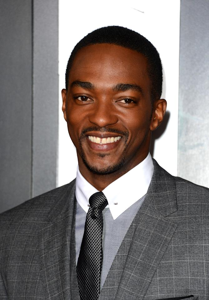 """HOLLYWOOD, CA - JANUARY 07:  Actor Anthony Mackie arrives at Warner Bros. Pictures' """"Gangster Squad"""" premiere at Grauman's Chinese Theatre on January 7, 2013 in Hollywood, California.  (Photo by Jason Merritt/Getty Images)"""