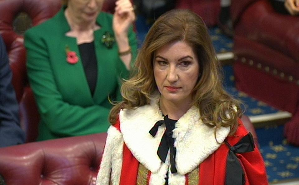 Businesswoman and television star Karren Brady takes her seat in the House of Lords.