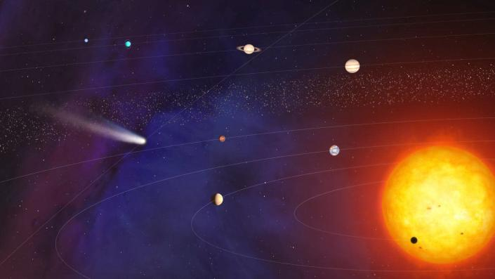 A diagram of the solar system, showing the sun and its orbiting planets.
