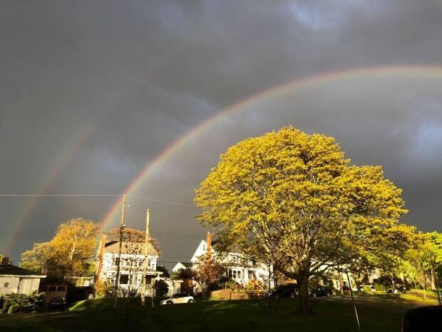 Rainbows, including this double rainbow in Bedford, were seen throughout the province.