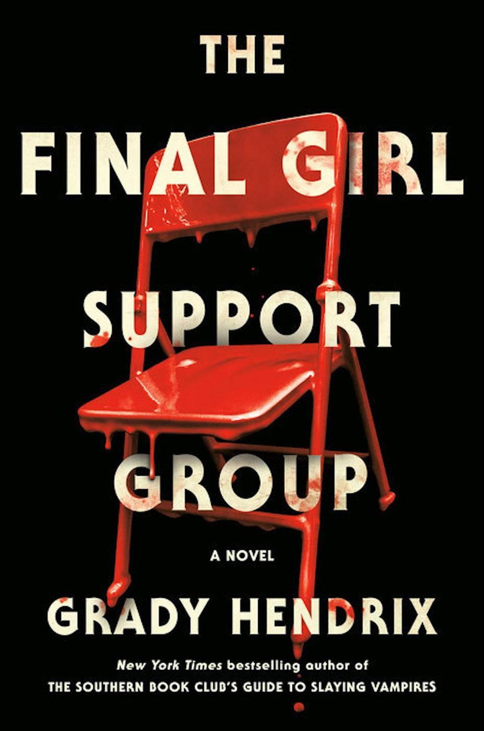 Final Girl Support Group Novel cover with a red bloody chair on a black background