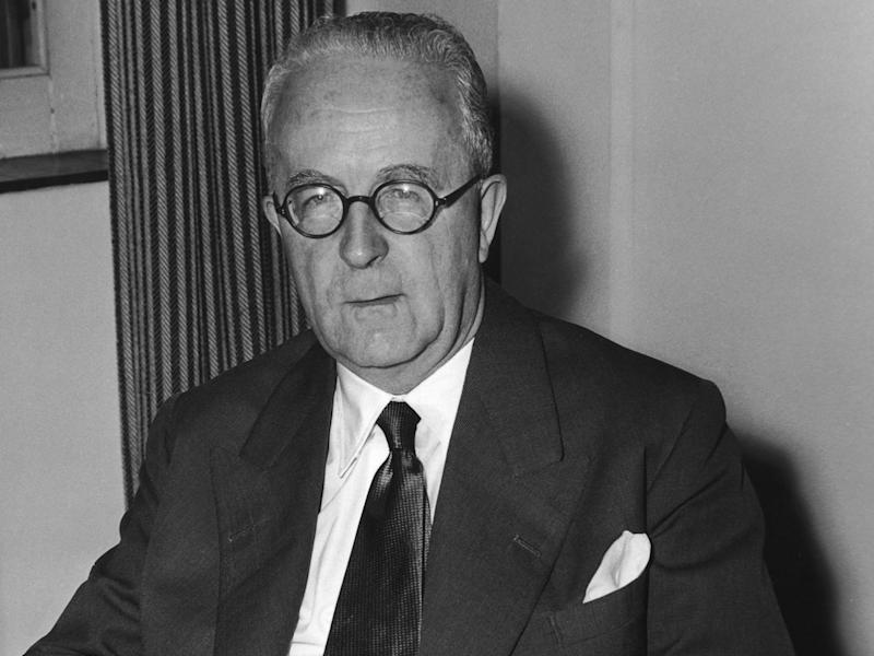 British lawyer and law lord Cyril Radcliffe, 1st Viscount Radcliffe (1899 - 1977) at the Colonial Office, London, July 1956