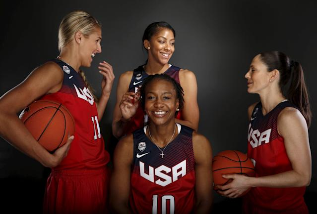 Women's basketball team members Elena Delle Donne (L-R), Tamika Catchings, Candace Parker, and Sue Bird prepare to pose for a portrait at the U.S. Olympic Committee Media Summit in Beverly Hills, Los Angeles, California March 9, 2016. REUTERS/Lucy Nicholson