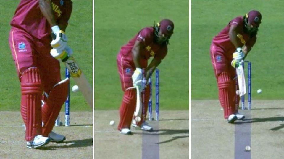 Chris Gayle was given out three times, successfully reviewing two of the dismissals. Pic: ICC