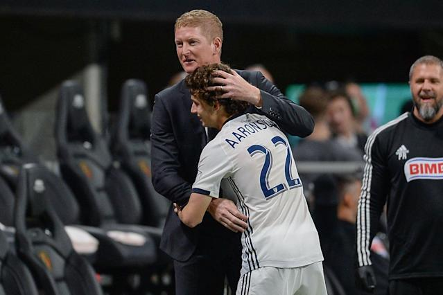 Academy grad Brenden Aaronson, 18, has been a revelation for Union coach Jim Curtin. (Rich von Biberstein/Getty)