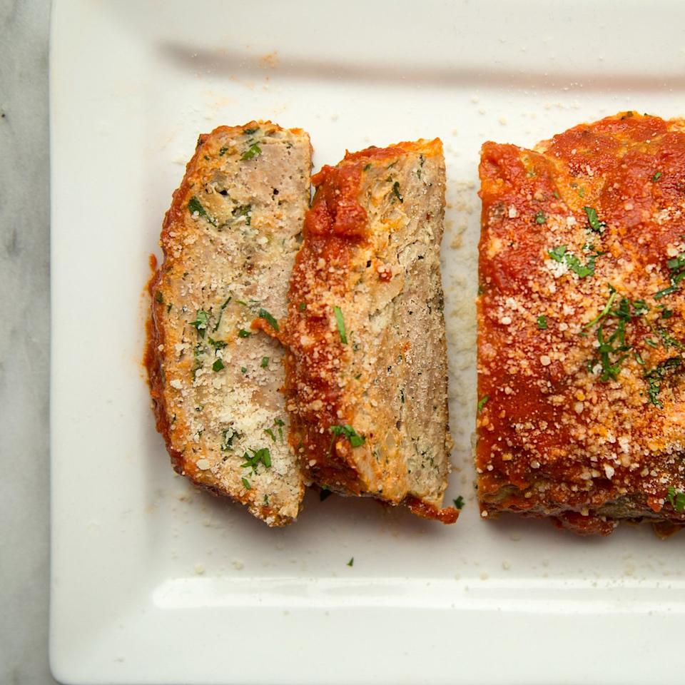 """<p>Sweet Italian turkey sausage and freshly grated Parmigiano-Reggiano cheese lend an almost meatball-like flavor to this moist and marinara-topped turkey meat loaf.</p><p><a href=""""https://www.foodandwine.com/recipes/turkey-meat-loaf"""">GO TO RECIPE</a></p>"""