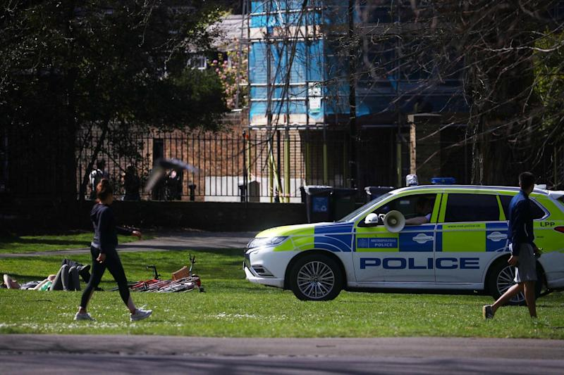 A police car is seen in Greenwich Park during the UK lockdown (REUTERS)