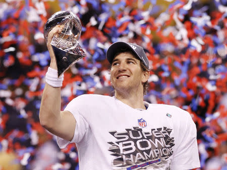 Eli Manning won't host the Lombardi Trophy this year, but still managed a Super Bowl moment. (Reuters)