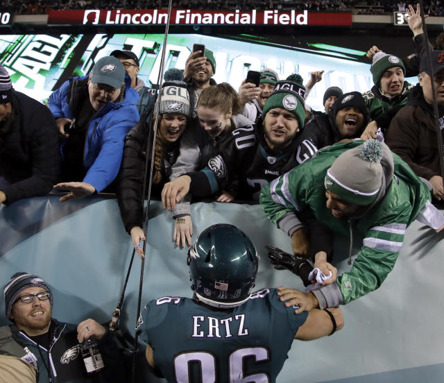 Eagles fans are in the giving mood on their way to the Super Bowl. (AP Photo/Matt Rourke)