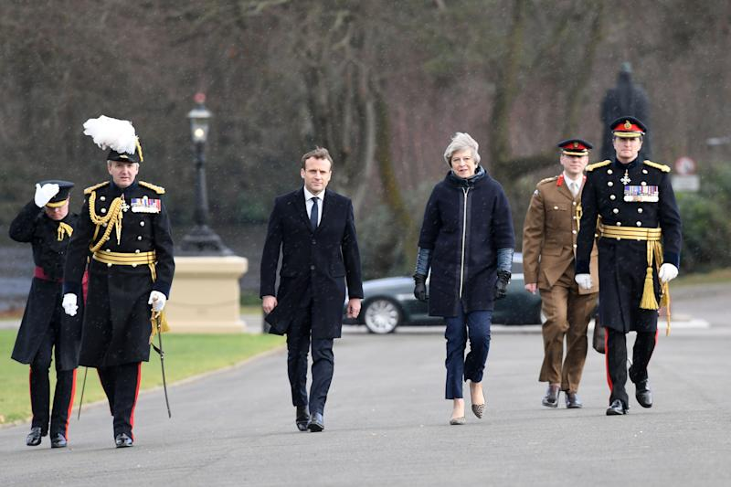 <strong>Prime Minister Theresa May and French President Emmanuel Macron at the Royal Military Academy Sandhurst, ahead of UK-France summit talks </strong> (PA Wire/PA Images)