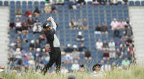 South Africa's Louis Oosthuizen plays his shot from the 17th during the first round British Open Golf Championship at Royal St George's golf course Sandwich, England, Thursday, July 15, 2021. (AP Photo/Peter Morrison)