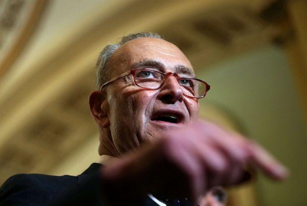 PHOTO: Senate Democratic Leader Chuck Schumer speaks about impeachment to reporters after a weekly policy lunch on Capitol Hill in Washington, D.C., Jan. 7, 2020. (Leah Millis/Reuters)