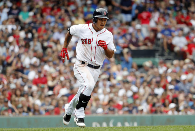 Boston Red Sox's Tzu-Wei Lin runs out his single against the Toronto Blue Jays during the fifth inning of a baseball game Saturday, July 14, 2018, in Boston. (AP Photo/Winslow Townson)