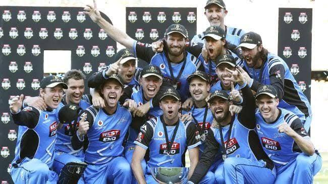Adelaide Strikers with the Big Bash League trophy.