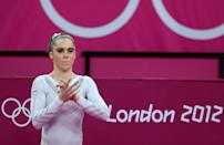 <p>McKayla Maroney Maroney of United States looks on during the Artistic Gymnastics Women's Vault final on Day 9 of the London 2012 Olympic Games at North Greenwich Arena on August 5, 2012 in London, England. (Photo by Ronald Martinez/Getty Images) </p>