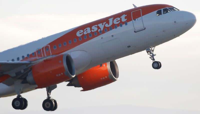 An Easyjet plane takes off from Manchester Airport in Manchester