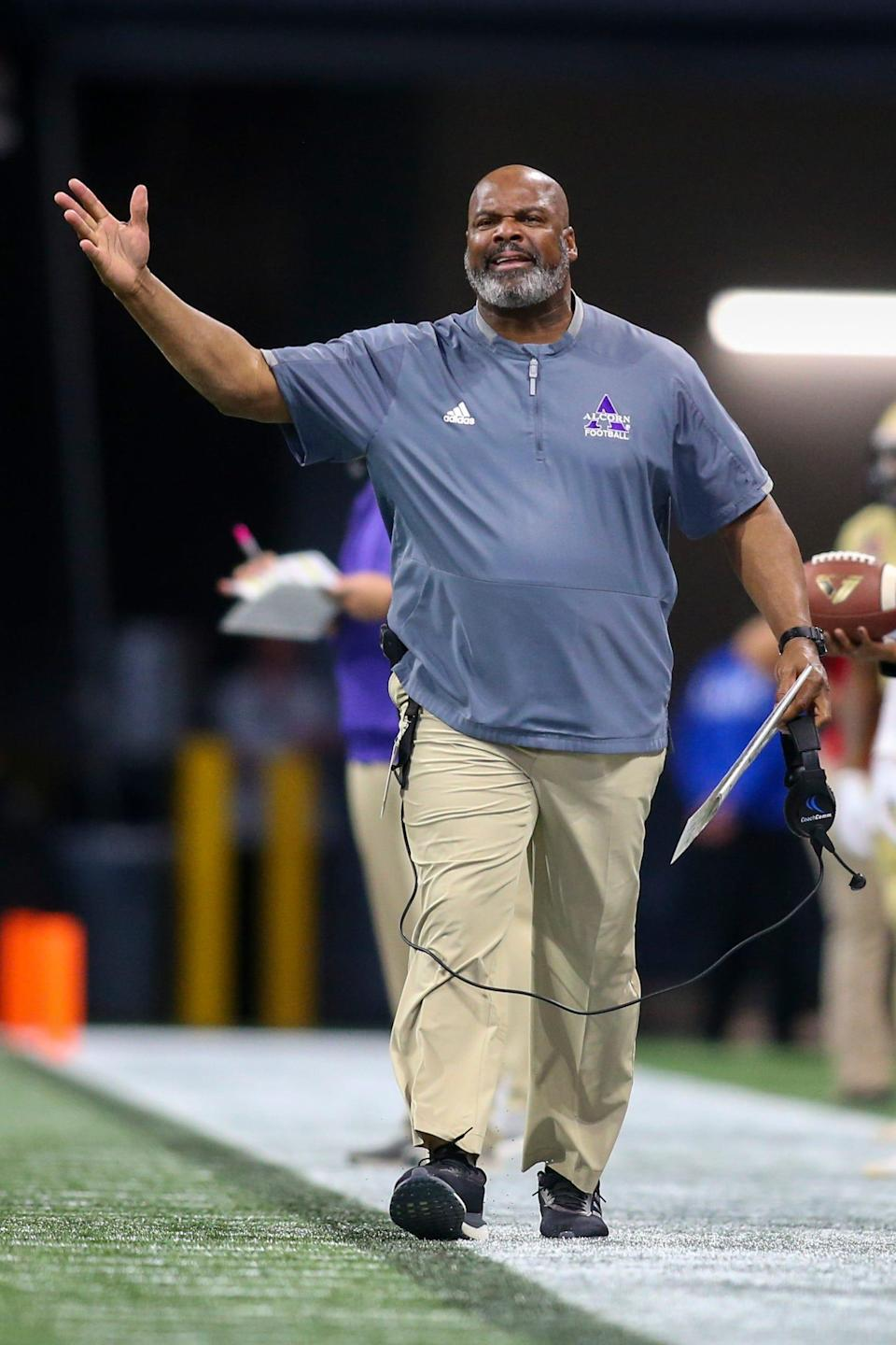 Alcorn State Braves head coach Fred McNair in 2019. Alcorn State has started its season with a 1-1 record.