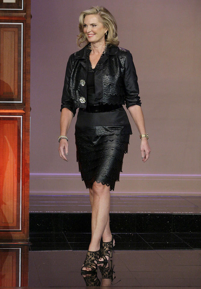"Ann Romney, whose hubby, Mitt, is running to become the next president of the United States, left her campaign-trail cardigan at home while making an appearance on ""The Tonight Show With Jay Leno"" on Wednesday. Instead, Romey sported a strange black tiered leather skirt (although it looked a little more like pleather) and matching jacket, along with a pair of lacy heels. Perhaps her next stop was a biker bar? (9/25/2012)"