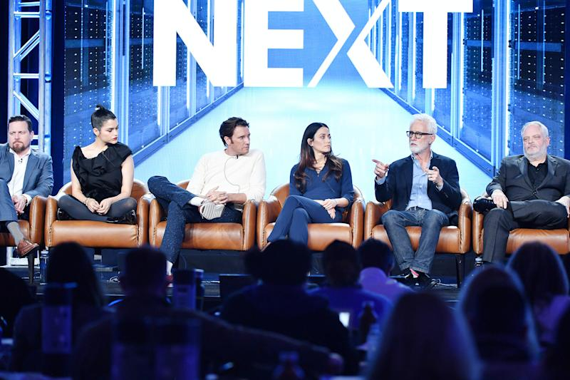PASADENA, CALIFORNIA - JANUARY 07: (L-R) Michael Mosley, Eve Marlow, Jason Butler Harner, Fernanda Andrade, John Slattery and Manny Coto of 'Next' speak during the Fox segment of the 2020 Winter TCA Press Tour at The Langham Huntington, Pasadena on January 07, 2020 in Pasadena, California. (Photo by Amy Sussman/Getty Images)