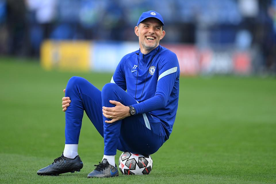 <p>Thomas Tuchel laughs during Chelsea training before the Champions League final</p> (Getty)
