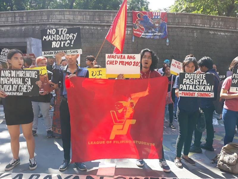 Members of the League of Filipino Students protest against mandatory ROTC. Photo: League of Filipino Students' Facebook page
