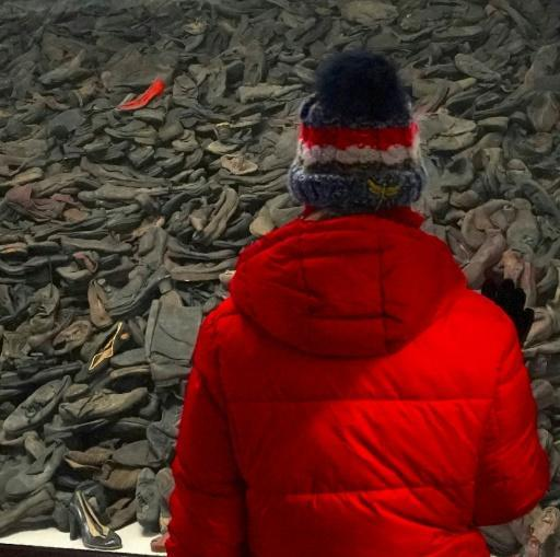 A visitor stands in front of a pile of victims' shoes at the Auschwitz death camp