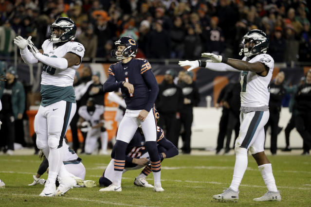 Chicago Bears kicker Cody Parkey (1) watches as he misses a field goal in the final minute during the second half of an NFL wild-card playoff football game against the Philadelphia Eagles Sunday, Jan. 6, 2019, in Chicago. The Eagles won 16-15. (AP Photo/Nam Y. Huh)