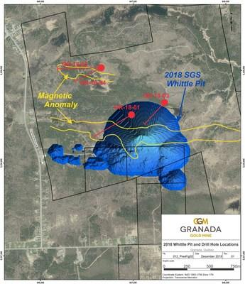 Location of drill holes reported here, 2018 Whittle Pit, and Magnetic Anomalies (CNW Group/Granada Gold Mine Inc.)