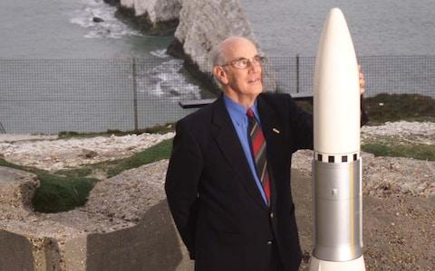 <span>Rocket scientist Ray Wheeler with a scale model of the Black Arrow rocket </span>