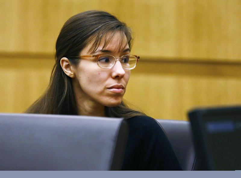 Defendant Jodi Arias looks to her family during closing arguments during her trial on Friday, May 3, 2013 at Maricopa County Superior Court in Phoenix.  Arias is charged with first-degree murder in the stabbing and shooting death of Travis Alexander, 30, in his suburban Phoenix home in June 2008. (AP Photo/The Arizona Republic, Rob Schumacher, Pool)