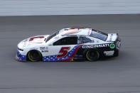 Kyle Larson drives at the NASCAR Cup Series auto race at Michigan International Speedway, Sunday, Aug. 22, 2021, in Brooklyn, Mich. (AP Photo/Carlos Osorio)