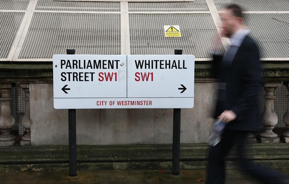 A street sign of points at Parliament Street and Whitehall in Westminster London. Picture dated: Monday February 4, 2019