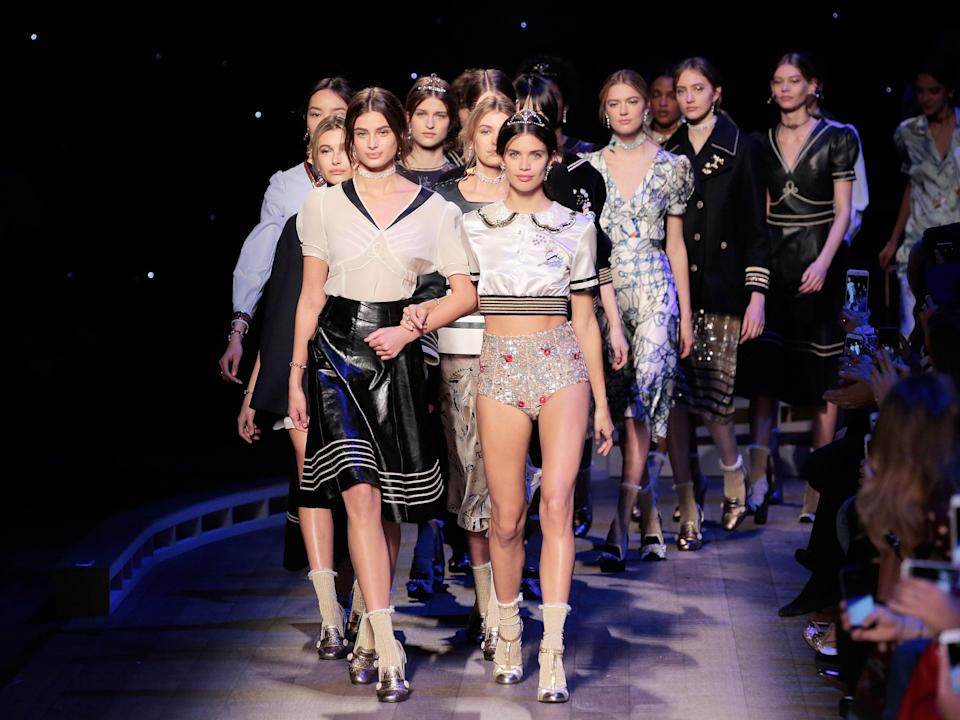 Photo credit: Models on the Tommy Hilfiger catwalk. Image: Getty