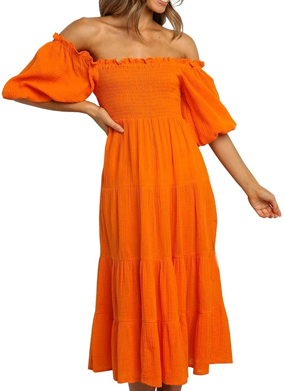 <p>We have heart eyes for this flattering <span>R.Vivimos Linen Off-Shoulder A-Line Midi Dresses</span> ($24).</p>