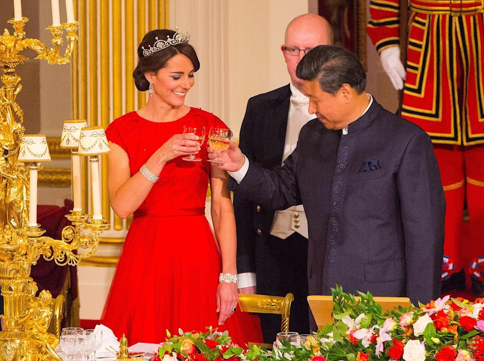<p>Queen Mary was first to own this accessory, which was featured on the Queen Mother's wrist for her 75th birthday portrait. Kate Middleton has worn the bracelet, originally designed as a choker, multiple times in recent years — and happened to clasp it for the same 2015 state dinner with China where she wore the much-beloved Lotus Flower Tiara.</p>