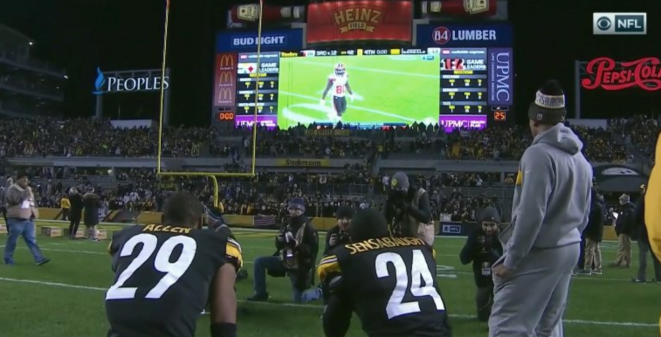 Steelers and their fans watching Cleveland. (via screenshot)