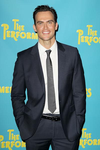 "FILE - This Sept. 25, 2012 file image originally released by Starpix shows Cheyenne Jackson, a cast member in the Broadway play, ""The Performers,"" during a photo call in New York. The play, also starring Ari Graynor, Daniel Breaker, Jenni Barber, Alicia Silverstone and Henry Winkler, opens at Longacre Theatre on Nov. 14. (AP Photo/Starpix, Amanda Schwab, file)"