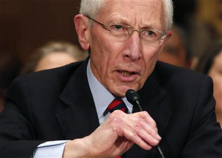 Stanley Fischer, the former chief of the Bank of Israel, testifies before the Senate Banking Committee confirmation hearing on his nomination in Washington