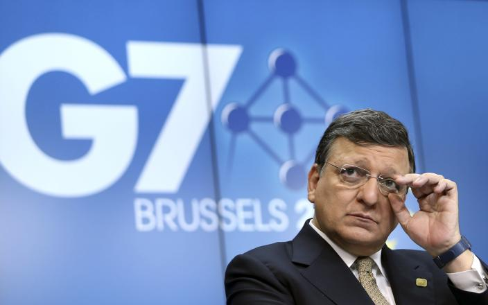 European Commission President Jose Manuel Barroso addresses a news conference ahead of a G7 summit at the European Council building in Brussels June 4, 2014. The world's leading industrialized nations meet without Russia for the first time in 17 years on Wednesday, leaving President Vladimir Putin out of the talks in retaliation for his seizure of Crimea and Russia's part in destabilizing eastern Ukraine. REUTERS/Francois Lenoir (BELGIUM - Tags: POLITICS BUSINESS TPX IMAGES OF THE DAY)