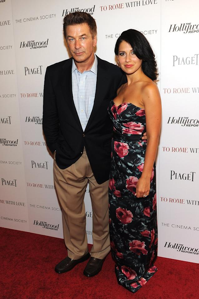"""NEW YORK, NY - JUNE 20:  Actor Alec Baldwin and Hilaria Thomas attend the Cinema Society with The Hollywood Reporter & Piaget and Disaronno special screening of """"To Rome With Love"""" at the Paris Theatre on June 20, 2012 in New York City.  (Photo by Larry Busacca/Getty Images)"""