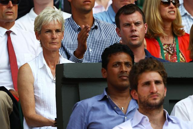 LONDON, ENGLAND - JULY 07: Leon Smith (R) and Judy Murray watch the Gentlemen's Singles Final match between Andy Murray of Great Britain and Novak Djokovic of Serbia on day thirteen of the Wimbledon Lawn Tennis Championships at the All England Lawn Tennis and Croquet Club on July 7, 2013 in London, England. (Photo by Clive Brunskill/Getty Images)