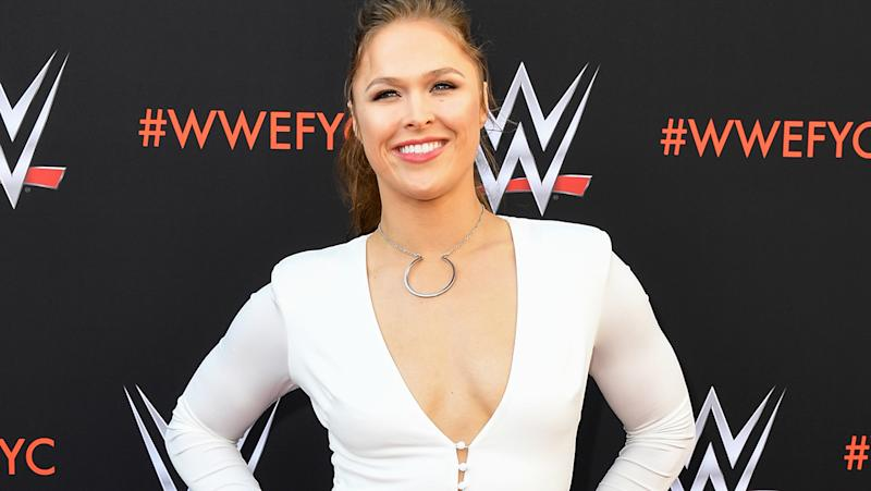 Ronda Rousey, pictured here at a WWE event in 2018.
