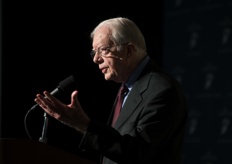Former U.S. President Jimmy Carter discusses U.S. election reform at the Carter Center, Wednesday, July 17, 2013, in Atlanta. Carter gave the keynote remarks Wednesday along with Ambassador Janez Lenarcic of the Warsaw-based Office for Democratic Institutions and Human Rights. The organization is presenting its final report for improving the U.S. electoral process. The office is part of the Organization for Security and Cooperation in Europe, and it observed the 2012 U.S. elections. (AP Photo/David Goldman)